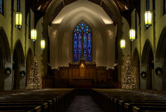 Church interior on Christmas Eve royalty free stock image