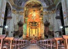 Church interior colorful light Stock Photos