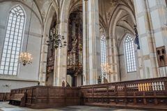 Church interior of the Grote Kerk in Zwolle, Netherlands stock photography