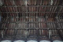 Church interior roof. Inside All Saints church Necton showing angels in the magnificently wood carved roof. This church dates back to the 14th century Royalty Free Stock Images