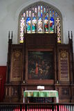 Church interior. Inside All Saints church Necton showing stained glass window, painting and alter Royalty Free Stock Images