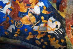 Church interior with original 17th century frescos Royalty Free Stock Photography