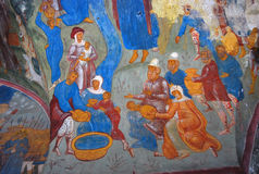 Church interior with original 17th century frescos Stock Images