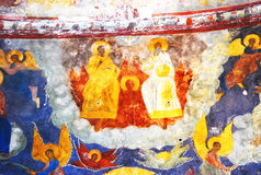 Church interior with original 17th century frescos Royalty Free Stock Images