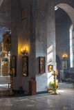 Church interior. Orthodox church interior with icons and candles Stock Photo