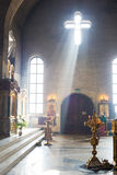 Church interior. Orthodox church interior with icons and candles Royalty Free Stock Images