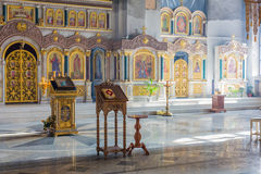 Church interior. Orthodox church interior with icons and candles Stock Photography