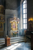 Church interior. Orthodox church interior with icons and candles Royalty Free Stock Image