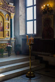Church interior. Orthodox church interior with icons and candles Royalty Free Stock Photos