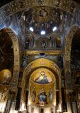 Church interior, Palatine Chapel. The Palatine Chapel (Italian: Cappella Palatina) is the royal chapel of the Norman kings of Sicily situated on the ground floor Royalty Free Stock Photos