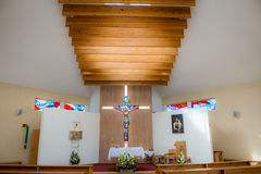 Church interior. Small nice christian church interior Stock Images