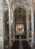 Church interiors of the Jeronimos Monastery Royalty Free Stock Image