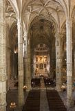 Church interiors of the Jeronimos Monastery Stock Images