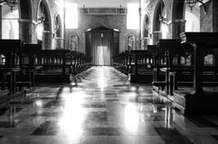 Church internal view. Black and white photo Stock Photos
