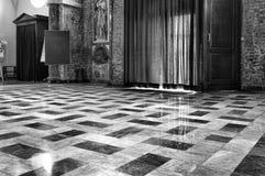 Church internal view. Black and white photo Stock Photos