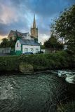 River Eske. Donegal town. county Donegal. Ireland. The church of Ireland and river Eske at night. Donegal town. county Donegal. Ireland Royalty Free Stock Image
