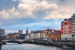 Church, Isere river and bridge in Grenoble, France Stock Image