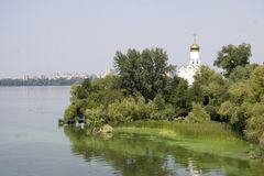 Church on an island in the city of Dnepropetrovsk stock photos