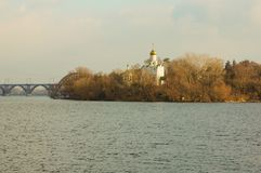 Church on the island of the Dnieper stock photo