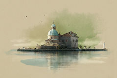 The Church on the island (Gospa OD Skrpjela) in Perast, Montenegro. Watercolor sketch. Sepia. The Church on the island (Gospa OD Skrpjela) in Perast, Montenegro Vector Illustration