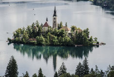 Church on an Island on the Lake Stock Images