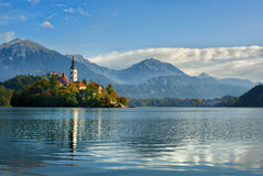 Church on the island of Lake Bled Stock Photography