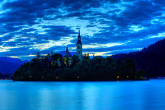 Church on the island - Lake bled in early morning Stock Image