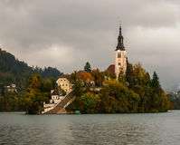 Church on a island of lake Bled. Slovenia. Stock Images