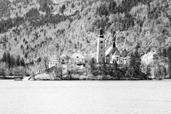Church on the island of Lake BLED in SLOVENIA Stock Images