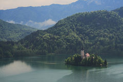 Church on island. Lake Bled, Slovenia Stock Photography