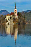 Church on Island in the Lake with Mountain Landscape Stock Photography
