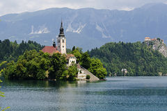 Church on a island in the middle of the Bled lake in Bled Stock Image