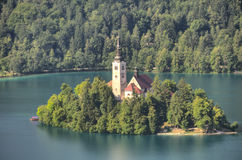 Church on island in the middle of Bled lake. Stock Image