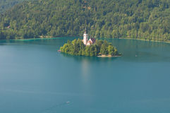 Church on island in the middle of Bled lake. Slovenia Stock Photo