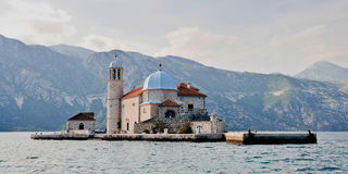 Church on the island. Montenegro. Virgin of the Rock Island Royalty Free Stock Image