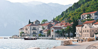 Perast morning view. Montenegro. The medieval town of Perast Stock Image