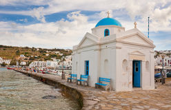 Church on the island of Mykonos near the pier Royalty Free Stock Photography