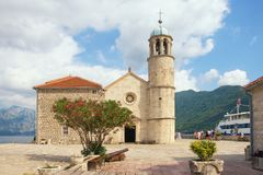 Church on island. Our Lady of The Rocks Gospa od Skrpjela. Bay of Kotor, Montenegro Royalty Free Stock Images