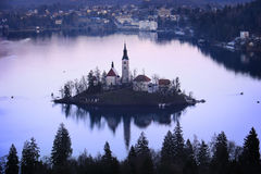 Church on the Island, Slovenia Stock Photo