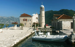 Church at islet in the bay of Kotor, Montenegro Royalty Free Stock Photos