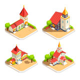 Church 4 Isometric Icons Set Royalty Free Stock Photo