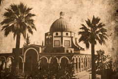 Church Israel. Retro look of the Orient - Mount Beatitude Royalty Free Stock Images