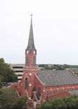Church in Jefferson City, Missouri. Church seen from the Missouri State Capitol building in Jefferson City, Missouri Stock Image