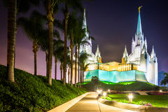 The Church of Jesus Christ of Latter-Day Saints Temple at night Royalty Free Stock Images