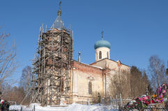 The Church Job's suffering in the old cemetery. Tikhvin, Russia Royalty Free Stock Images