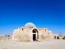 A church in the jordan dessert. Blue sky royalty free stock photography