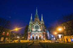 Church Joseph on night time - a historic Roman Catholic church in south-central part of Krakow. Stock Photo