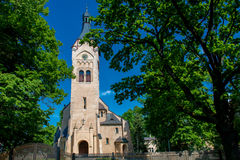 Church in Jurmala, Latvia. Jurmala Evangelic Lutheran Church and blue sky royalty free stock photography