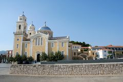 Church in Kalamata. A church and a few old houses in the old district of Kalamata, Greece Stock Photography