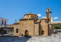 Church in Kalamata, Greece. This is the historic church of the Holy Apostles, Kalamata, Greece, where the revolution against the Turks started, in 1821 royalty free stock image